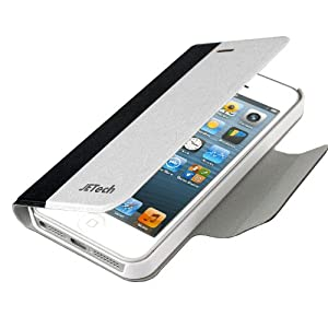 JETech® Luxury iPhone 5 Case Cover Ultra Fit Bumper for Apple iPhone 5 5S (Wallet-Black/White)
