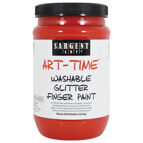 Sargent Art 22-9220 16-Ounce Art Time Washable Glitter Finger Paint, Red - 1