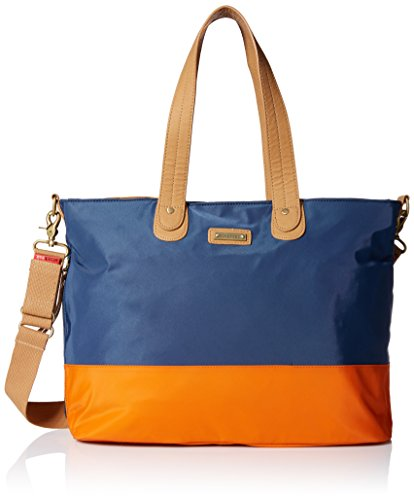 Storksak Color Block Tote, Navy/Orange