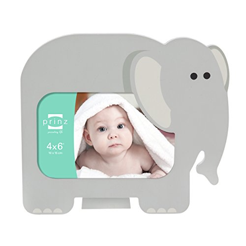 4x6 Little Safari Gray Elephant Shaped Wood Frame