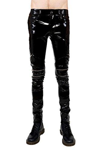 Lip Service Gothic Punk Rocker Moto PVC Vinyl Black Shiny Wet Look Zip Jeans Pants (32) (Lip Service Vinyl Pants compare prices)