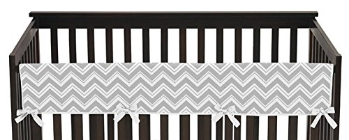 Sweet-Jojo-Designs-Unisex-Long-Front-Rail-Guard-Baby-Boy-or-Girl-Crib-Teething-Cover-Protector-for-Turquoise-and-Gray-Chevron-Zig-Zag-Collection