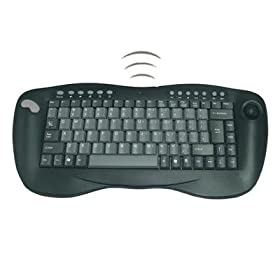 Adesso 2.4 GHz RF Wireless Mini Keyboard with Optical Trackball