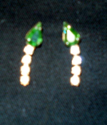 Green Rhinestone Teardrop Pierced Earrings