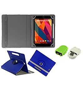 Gadget Decor (TM) PU Leather Rotating 360° Flip Case Cover With Stand For lava xtron z704 + Free Robot USB On-The-Go OTG Reader - Dark Blue