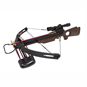 Spider 150 lb Real Wood Compound Crossbow 4x32 Scope + Extra Arrows + Quiver + Rope... by Wizard Archery