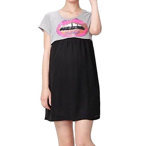 Maternity Nursing Women Chiffon Colorblock Short Sleeve Dress Size L