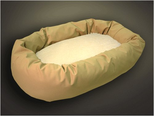 "Extra Large 52"" Bagel Donut Dog Pet Bed - Khaki Sherpa"