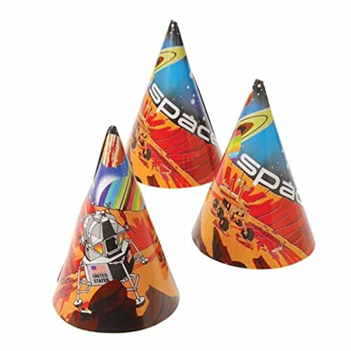 Dozen Astronaut Space Theme Paper Birthday Party Hats With Chin Straps