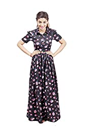 Fadjuice Women's Maxi Skirt (8766S_Black Pink White Blue_Small)