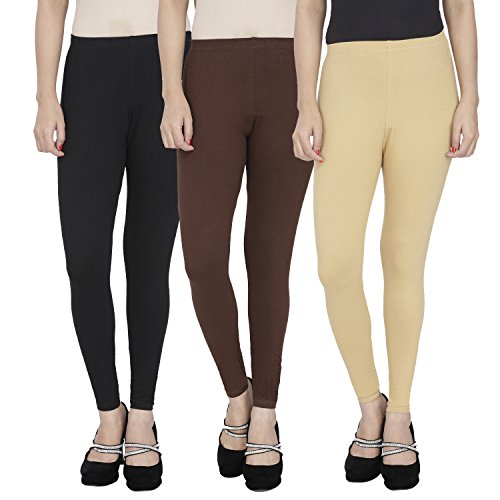 Anekaant Cotton Lycra Ankle Length Leggings Pack of 3 (Purple, Green, Violet)