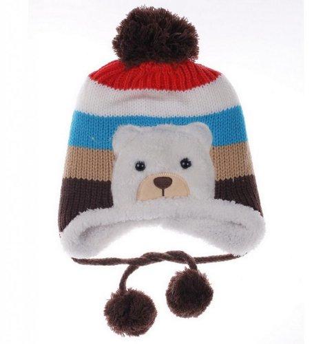 (ポラリス) Polaris 1-5歳赤ちゃんベビーウールカシミヤ耳あて ニット帽子キャップハットキッズ可愛いクマデザイン冬保温防寒能力一流(5色選べます) (5褐色)