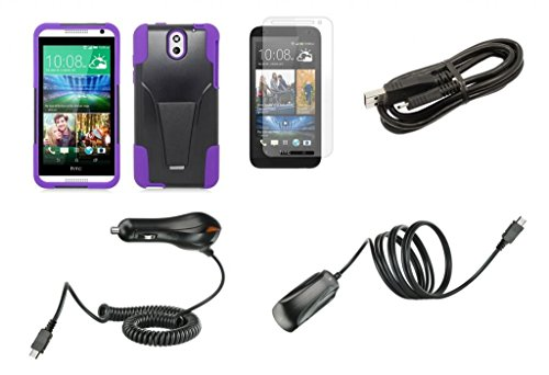 Htc Desire 610 (At&T) - Black & Purple Dual Layer Impact Defender Shockproof Armor Kickstand Cover Case + Atom Led Keychain Light + Screen Protector + Wall Charger + Car Charger + Micro Usb Cable