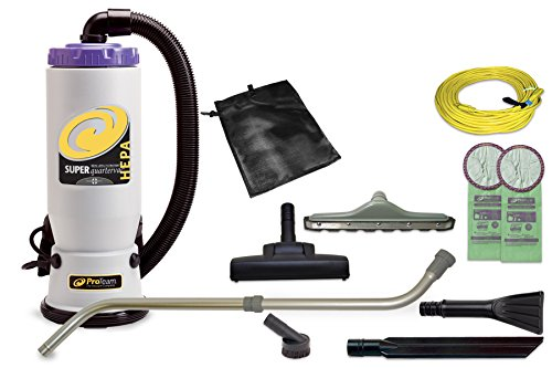 ProTeam Commercial Backpack Vacuum Cleaner, Super QuarterVac HEPA Vacuum Backpack with Residential Cleaning Service Kit, 6 Quart - Corded (Hepa Filter Pet Hair Vacuum compare prices)