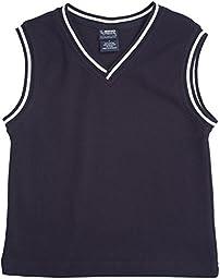 French Toast School Uniform Boys Sweater Vest with White Stripe, Navy, 7