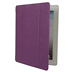 HOKO Sparkle pu Leather Flip Smart Cover Case for Apple iPad 4 (Purple ) (Auto wake and sleep)