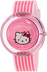 Hello Kitty Women's H3WL1022PKST Pink Round Plastic Case with Stripe Plastic Strap Watch
