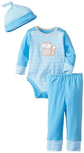 Offspring - Baby Apparel Boys Infant Fox Bodysuit Pant Set And Hat, Blue Stripe, 12 Months front-568685