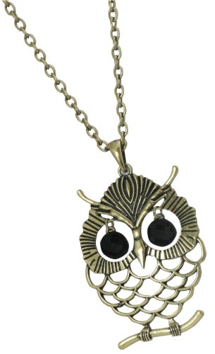 Glam Naturale Recycled Brass Long Chain Pendant Owl Necklace