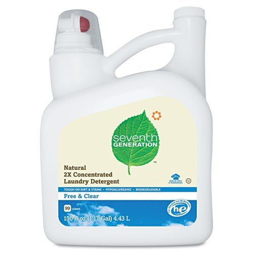 Seventh Generation Free And Clear Natural 2X Concentrate Laundry Liquid Unscented 150 oz. Bottle - four bottles.