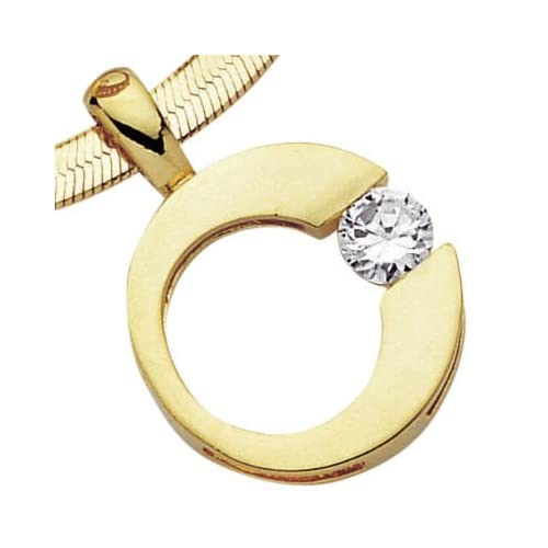 18K Gold Plated Clear Cubic Zirconia Solitaire Open Disc Pendant (Sold