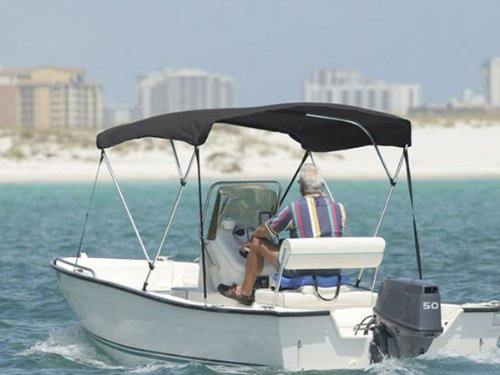 3 BOW GRAY BIMINI BOAT COVER TOP WITH ZIPPERED