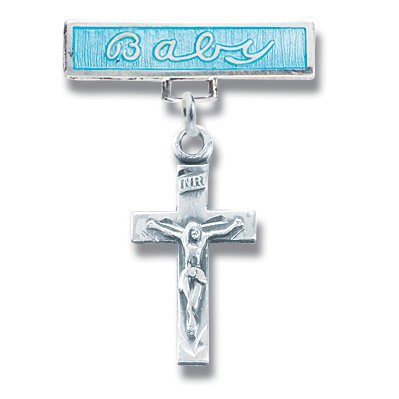Sterling Silver Christening Baptism Baby Infant Pins Godchild Religious Mary Angel Boy Blue