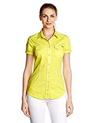 Gas Womens Button Down Shirt (81194_Acid Yellow_Small)