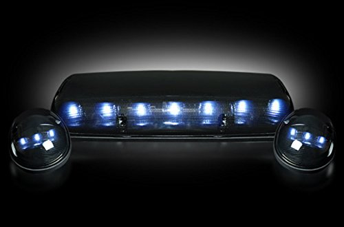 GMC & Chevy 02-07 (1st GEN Classic Body Style) Heavy-Duty (3-Piece Set) Smoked Cab Roof Light Lens with White LED's - (Complete Wiring Kit Sold Separately) (Chevy Led Smoked Cab Lights compare prices)