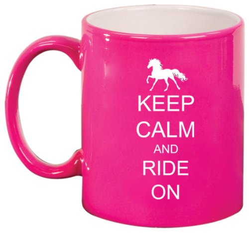 Keep Calm And Ride On Horse Ceramic Coffee Tea Mug Cup Hot Pink