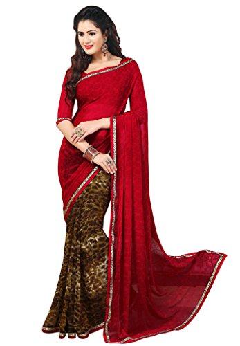 Salwar Studio Red & Brown Dani Georgette Paisley Printed Daily Wear Sarees