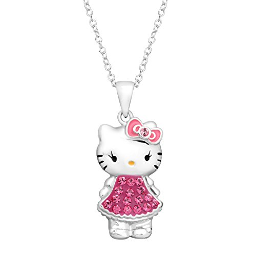 Hello-Kitty-Pendant-Necklace-with-Pink-Swarovski-Crystal-in-Sterling-Silver