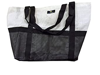 Deluxe Oversized Mesh ( Heavy Duty ) Beach Gym Tote Bag with Carabiner hook