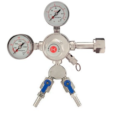 Kegco KC LH-542-2 Dual Product Premium Pro Series Dual Gauge Co2 Beer Regulator, Chrome (Co2 Regulator Shut Off Valve compare prices)