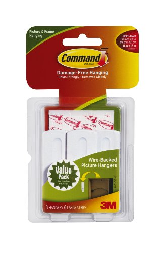 Command 17043 Wire-Backed Picture-Hanging Hooks with Adhesives Strips, 3 Hangers 6 Strips