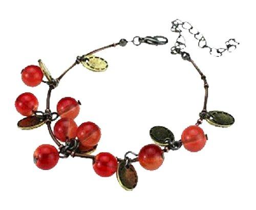 JMT Woman's Retro Cherry Beads Bracelet Antique