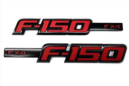 2009-2014 Ford F-150 FX4 Black & Red Fender Emblem 2 Piece Sport Kit OEM NEW (2011 Ford Emblem compare prices)