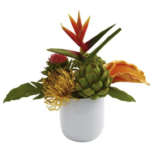 Nearly Natural 4820 Tropical Floral Arrangement With White Glass Vase, Green By Nearly Natural