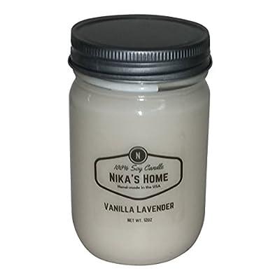 Nika's Home Vanilla Lavender Soy Candle - 12oz Mason Jar