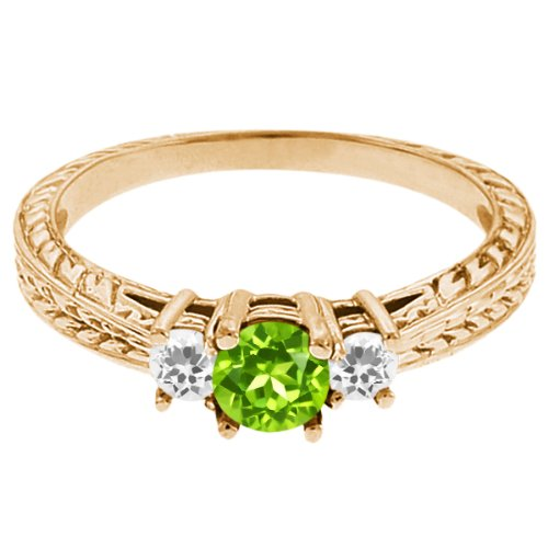 0.56 Ct Round Green Peridot White Sapphire 14K Yellow Gold 3-Stone Ring