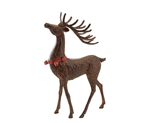 Red and Brown Rustic Hammered Metal Head Up Deer Table Top Christmas Decoration by Melrose