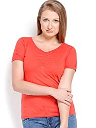 ESPRESSO V NECK TOP - LT.RED