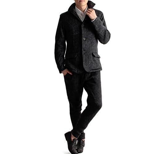 (ラフタス)Rafftas スライバーニット ジャケット & イージーパンツ セットアップ XL サイズ 杢 ブラック 秋 冬 春 メンズジャケット メンズパンツ ウォームパンツ 防寒ウエア アウター