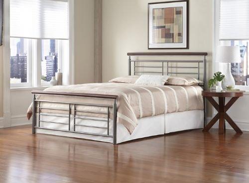 Fashion Bed Group Leggett And Platt Fontane Metal Bed, California King, Silver/Cherry