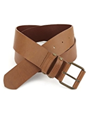 Indigo Collection Leather Rectangular Buckle Belt