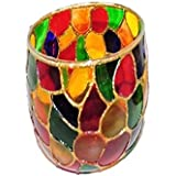 AKP Glass Decorative Candle Stands - 11 Cm X 8.5 Cm, Multi