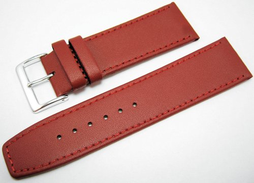 Red Leather Watch Strap Band With A Stitched Edging And Nubuck Lining 24mm