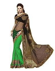 Vipul Heavy Embroidery Black & Green Net Half & Half Saree
