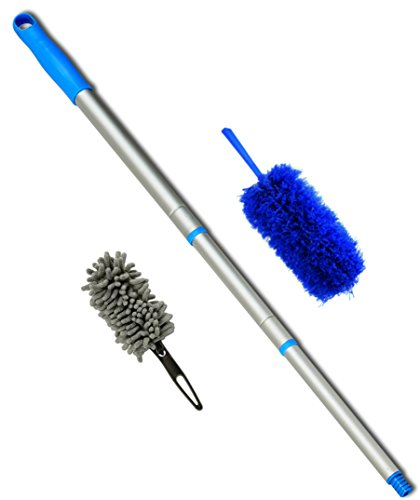 A NEW Dusting Concept -2 Microfiber Dusters and a Pole. - The Kit Includes a 22in Fluffy Blue Cleaning Duster That Is Flexible, Bendable and Extendable When Attached to the 23in-4 Foot Lightweight Threaded Pole and a Dense Chenille Microfiber Mini Duster for Dusting Delicate and Fragile Items. (Ceiling Fan Duster 6 Ft Pole compare prices)