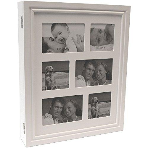 Armoire à bijoux avec 6 photos dans cadres séparés 36x44x7cm blanc boîte à bijoux
